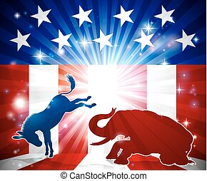 ezel, silhouette, vecht, elefant