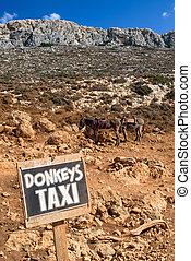 ezel, taxi, in, kreta, eiland, griekenland