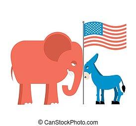 ezel, usa, elections., elefant, politiek, republicans., tegen, symbolen, america., policy., democraten, oppositie, partijen, amerikaan