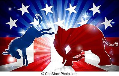 ezel, vecht, elefant