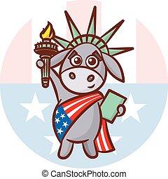 ezel, verenigd, usa, states., politiek, verkiezing, illustratie, debat, symbolen, america., democraten, standbeeld, partijen, vlag, liberty.