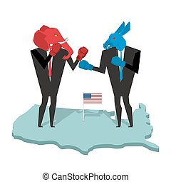 ezel, verkiezingen, kostuum, usa, allegorie, republikein, fight., slag, politiek, elefant, boxing, democraat, gloves., rood, zakenlieden, blauwe , opposition., partijen, elephant., gevecht, america.