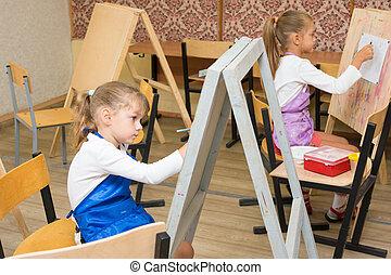 ezels, meiden, twee, verf , les, tekening