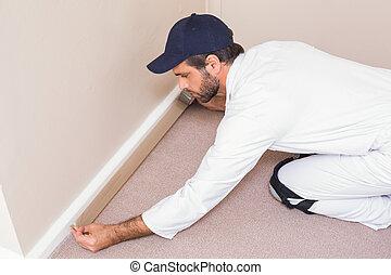 ezermester, lefektetés, szőnyeg, lefelé