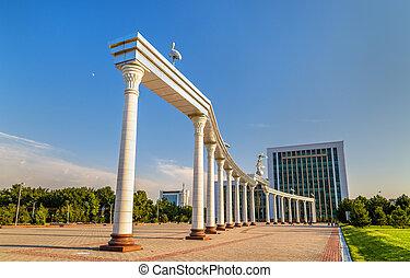 Ezgulik Arch on Independence Square in Tashkent, Uzbekistan.