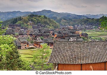 fából való, épület, közül, tanyatulajdonosok, alatt, a, hegy...