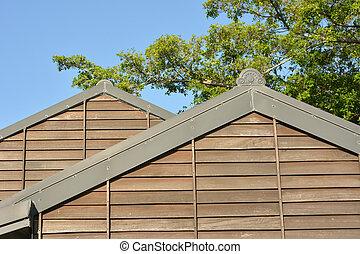 fából való, épület, tető