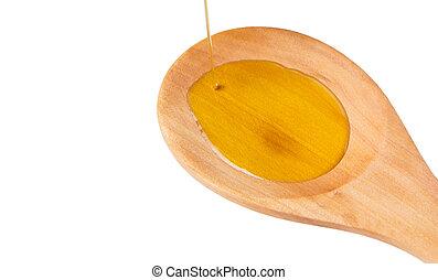 fából való, öntés, kanál, olaj, olajbogyó