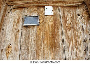 fából való, öreg, ajtó