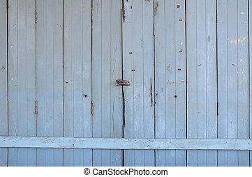 fából való, öreg, bejárati ajtó, kilátás