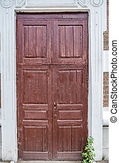 fából való, öreg, belépés, ajtó, kazan
