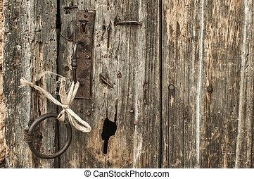 fából való, öreg, grunge, ajtó, részletez