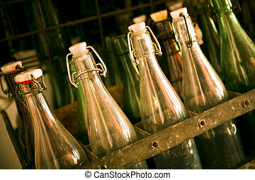fából való, öreg, sör palack, csomagol