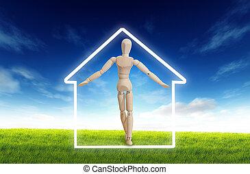 fából való, belső, a, épület, helyett, fogalmi, otthon, jelkép, -, ingatlan tulajdon, ingatlan, biztosítás, ház