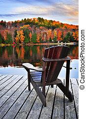 fából való, dokk, ősz, tó