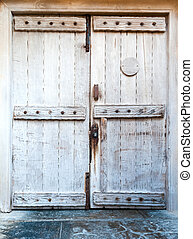 fából való, elülső, öreg, ajtó