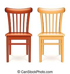fából való, elszigetelt, ábra, vektor, szék, fehér