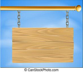fából való, felakaszt cégtábla