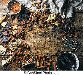 fából való, felett, diók, csokoládé, háttér, fűszeráruk, háttérfüggöny