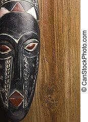 fából való, felett, maszk, háttér, afrikai