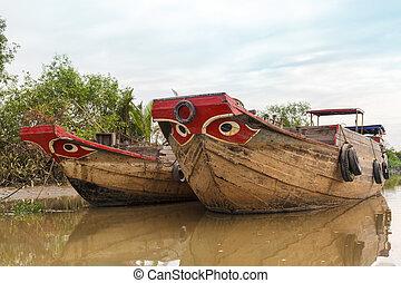 fából való, folyó, bárka, csónakázik, vietnam