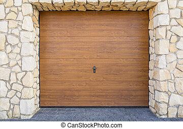 fából való, garázs ajtó