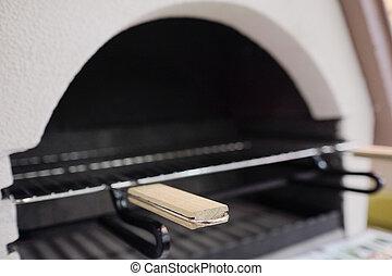 fából való, grillsütő, fogantyú, grill