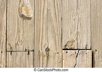 fából való, grunge, körmök, öreg, emelet