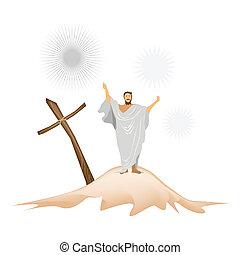 fából való, hegy, jesus christ, kereszt