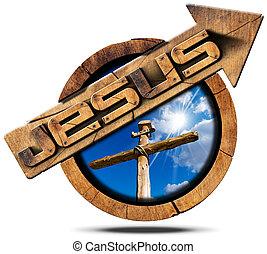fából való, jézus, kereszt, nyílvesszö cégtábla