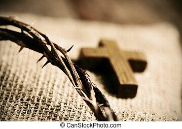 fából való, kereszt, és, a, lombkorona tövis, közül, jesus...
