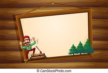 fából való, kiabálás, woodman, cégtábla, függő