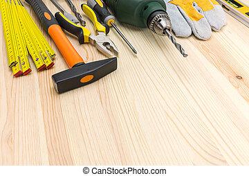 fából való, munka, eszközök, háttér