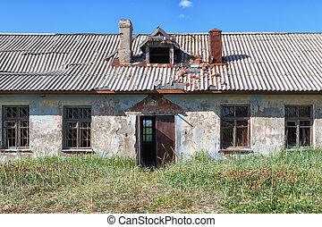 fából való, nyers, elhagyatott, ki, öreg, lerombol, windows, épület, törött