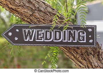 fából való, plakett, noha, a, felírás, szavak, wedding.