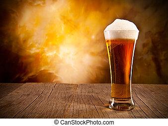 fából való, pohár, sör, asztal
