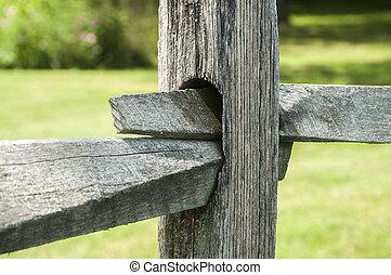 fából való, részletez, kerítés