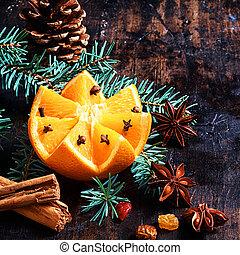 fából való, szüret, felett, dekoráció, asztal, karácsony