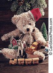 fából való, szüret, fiú, háttér, apró, karácsony