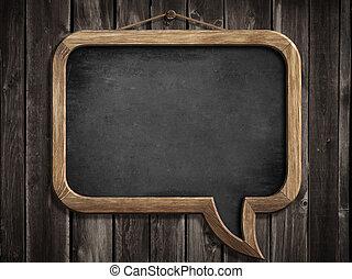 fából való, tábla, fal, beszéd, chalkboard, függő, buborék, vagy