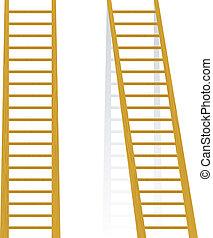 fából való, vektor, ábra, lépcsőház