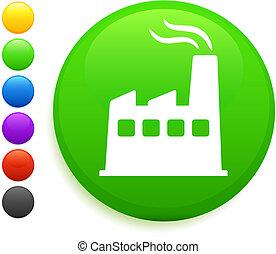fábrica, ícone, ligado, redondo, internet, botão