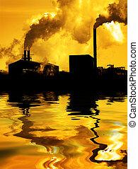 fábrica, atmosfera, reflexão, meio ambiente, bombear, ar, água, fumaça, qualidade, poluição