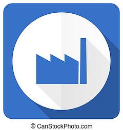 fábrica, azul, apartamento, ícone, indústria, sinal,...