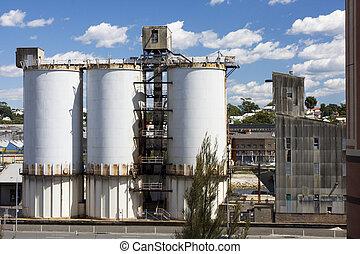 fábrica, cemento, silos