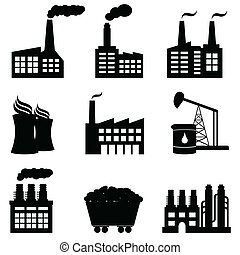 fábrica, central nuclear, y, energía, iconos