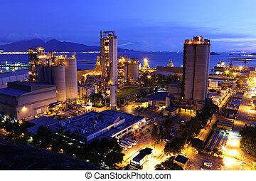 fábrica, cimento, noturna