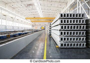 fábrica, concreto, taller, precast, house-building, pila, losas, reforzado