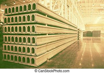 fábrica, concreto, taller, precast, pila, losas, reforzado