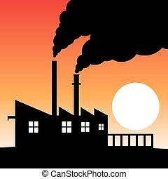 fábrica, contaminación, silueta, aire